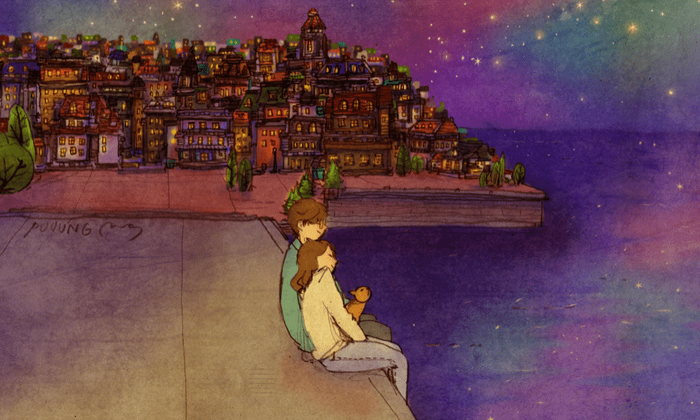 Illustrazioni in stile manga che idealizzano la vita di coppia