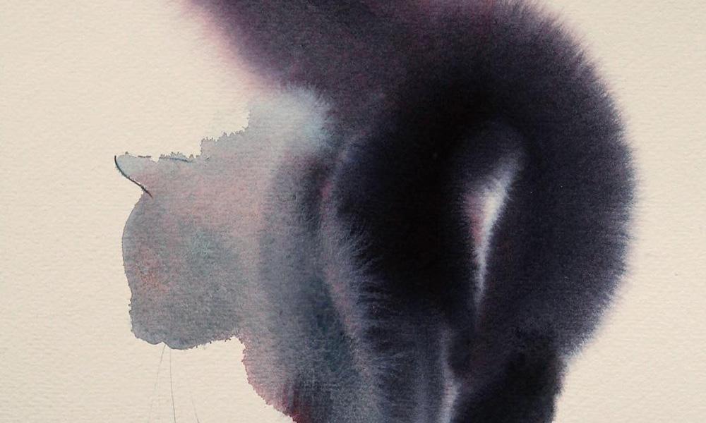 Macchie di acquerello nero diventano intriganti felini nei dipinti di Endre Penovác