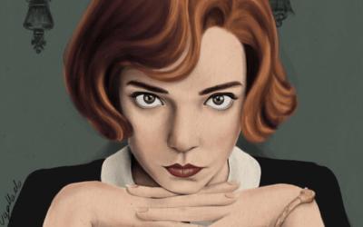 Una raccolta di illustrazioni su Beth Harmon, la regina degli scacchi