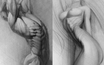 Armonia e perfezione del corpo umano nei disegni monocromatici di Andrey Samarin
