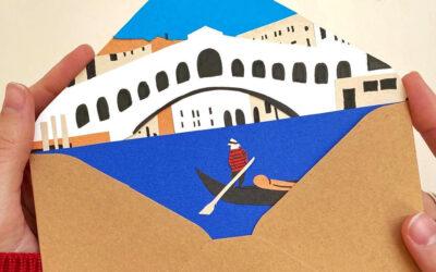 Lettere-collage per viaggiare con la fantasia nei più bei luoghi d'Italia: Helga Aversa