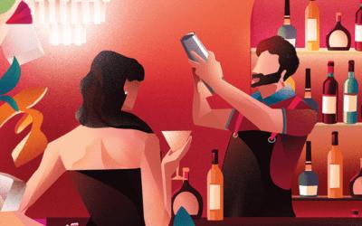 Atmosfere d'antan nelle vetrine illustrate da Marianna Tomaselli per Melchionni Cafè