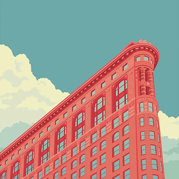 Una New York a tinte pastello nelle illustrazioni di Remko Heemskerk