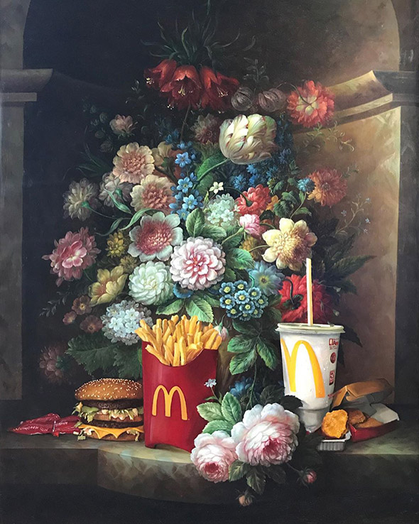 """Arte classica e pop si mescolano nei dipinti """"recuperati"""" di Dave Pollot"""