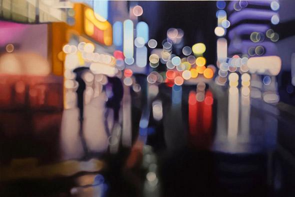 Dipinti che mostrano il mondo come lo vedrebbe una persona affetta da miopia