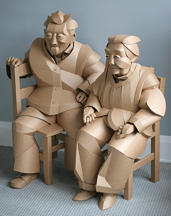 Gli abitanti di un antico villaggio cinese rivivono nelle sculture in cartone di Warren King